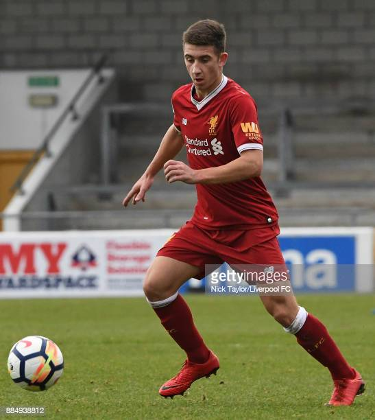 Cameron Brannagan of Liverpool in action during the Liverpool v Stoke City Premier League Cup game at The Swansway Chester Stadium on December 3 2017...