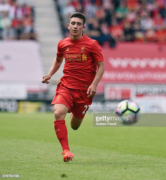 Cameron Brannagan of Liverpool in action during the PreSeason Friendly match between Wigan Athletic and Liverpool at JJB Stadium on July 17 2016 in...