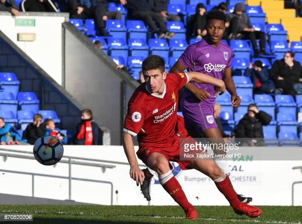 Cameron Brannagan of Liverpool in action during the U23 Premier League Cup between Liverpool and Bristol City at The Swansway Chester Stadium on...