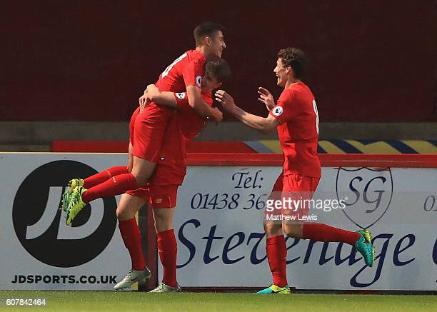 Cameron Brannagan of Liverpool is congratulated on his goal during the Premier League 2 match between Tottenham Hotspur and Liverpool at The Lamex...