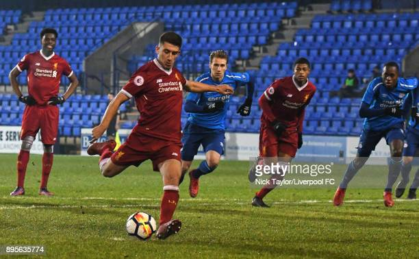 Cameron Brannagan of Liverpool takes a penalty during the Liverpool v PSV Eindhoven Premier League International Cup game at Prenton Park on December...