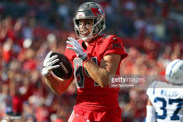 Cameron Brate of the Bucs makes a touchdown catch from Jameis Winston during the regular season game between the Indianapolis Colts and the Tampa Bay...