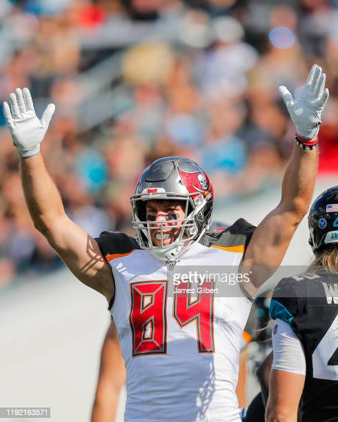Cameron Brate of the Tampa Bay Buccaneers celebrates a touchdown during the second quarter of a game against the Jacksonville Jaguars at TIAA Bank...