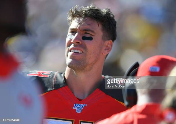 Cameron Brate of the Tampa Bay Buccaneers on the sideline while playing the Los Angeles Rams at Los Angeles Memorial Coliseum on September 29, 2019...