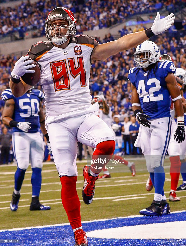 Cameron Brate #84 of the Tampa Bay Buccaneers reacts after a touchdown against the Indianapolis Colts at Lucas Oil Stadium on November 29, 2015 in Indianapolis, Indiana. Indianapolis defeated Tampa Bay 25-12.