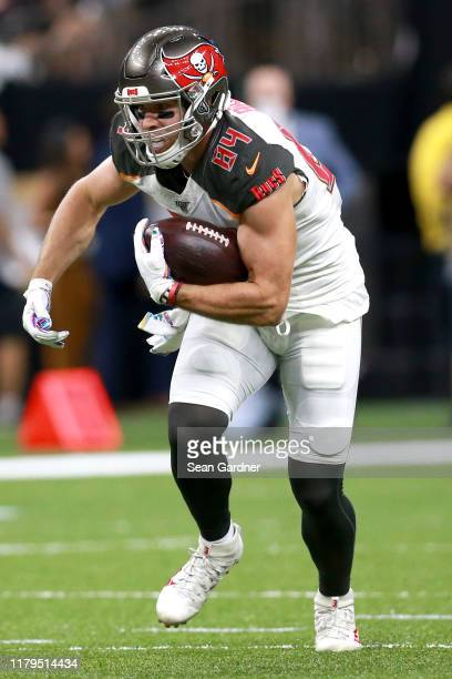Cameron Brate of the Tampa Bay Buccaneersin action during a NFL game against the New Orleans Saints at the Mercedes Benz Superdome on October 06,...