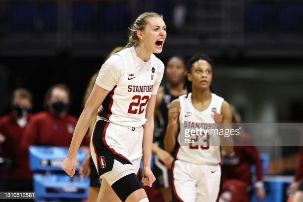 Cameron Brink of the Stanford Cardinal reacts against the South Carolina Gamecocks during the fourth quarter in the Final Four semifinal game of the...