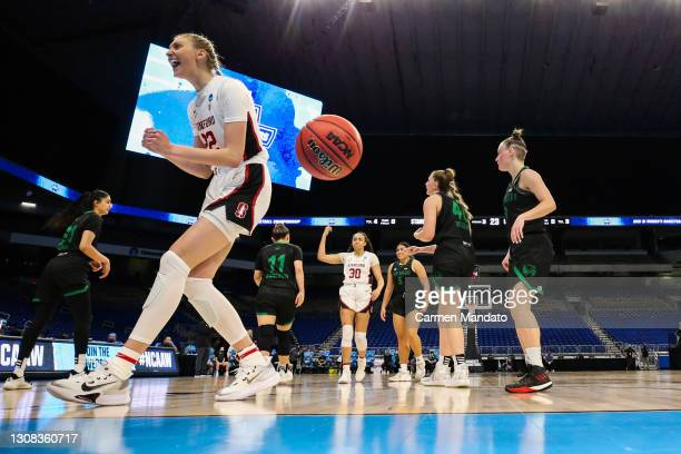 Cameron Brink of the Stanford Cardinal reacts during action against the Utah Valley Wolverines in the first round game of the 2021 NCAA Women's...