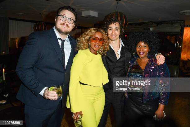Cameron Britton Mary J Blige Robert Sheehan and LaTonya Blige attend the after party of Netflix's 'The Umbrella Academy' at The Drake Hotel on...