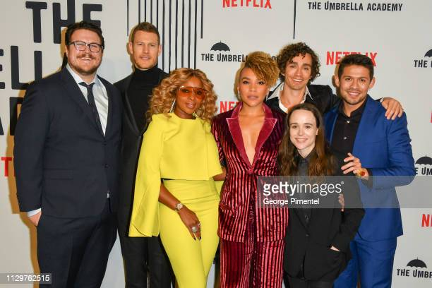 Cameron Britton Tom Hopper Mary J Blige Emmy RaverLampman Ellen Page Robert Sheehan and David Castaneda attend the premiere of Netflix's 'The...