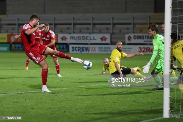 Cameron Burgess of Accrington Stanley scores a goal to make it 1-1 during the Carabao Cup First Round match between Burton Albion and Accrington...