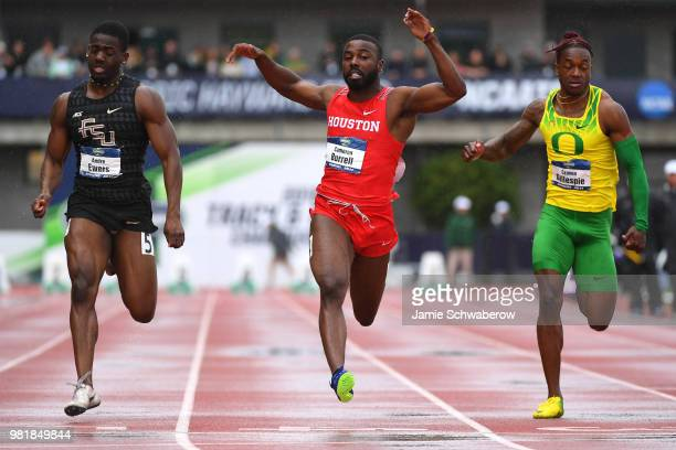 Cameron Burrell of the Houston Cougars races to victory in the 100 meter dash during the Division I Men's Outdoor Track & Field Championship held at...