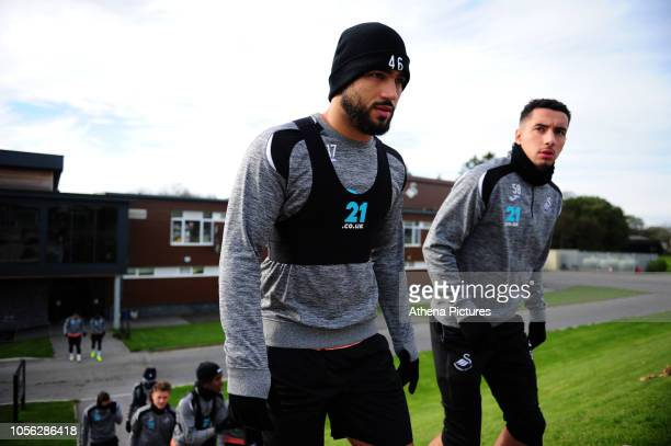 Cameron CarterVickers and Courtney BakerRichardson of Swansea City during the Swansea City Training at The Fairwood Training Ground on October 31...