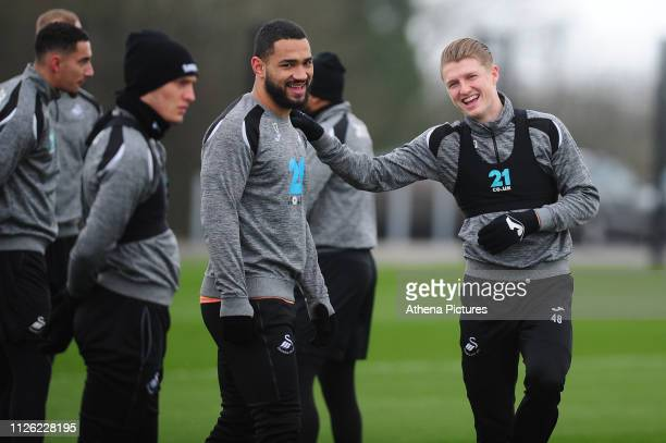 Cameron CarterVickers and George Byers of Swansea City in action during the Swansea City Training at The Fairwood Training Ground on February 20 2019...