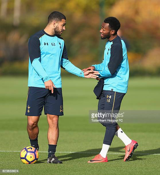 Cameron CarterVickers and GeorgesKévin N'Koudou of Tottenham during the Tottenham Hotspur training session at Tottenham Hotspur Training Centre on...