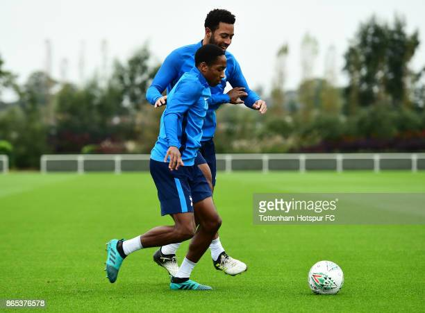 Cameron CarterVickers and Mousa Dembele during the Tottenham Hotspur training session at Tottenham Hotspur Training Centre on October 23 2017 in...
