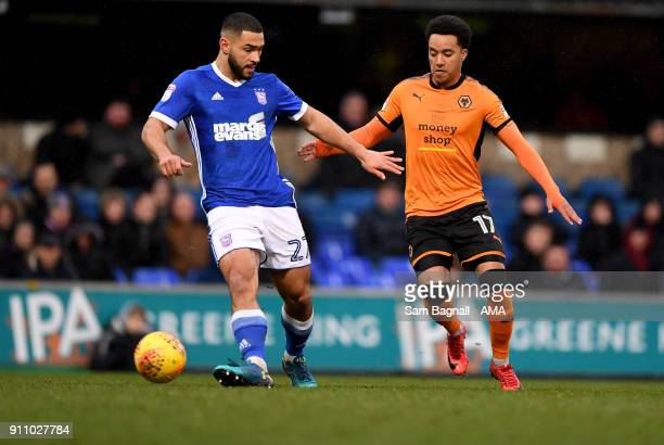 Cameron CarterVickers of Ipswich Town and Helder Costa of Wolverhampton Wanderers during the Sky Bet Championship match between Ipswich Town and...