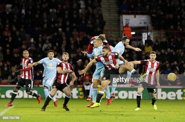 Cameron CarterVickers of Sheffield clears the ball during the Sky Bet Championship match between Sheffield United and Sunderland at Bramall Lane on...