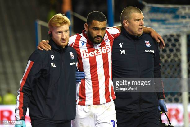 Cameron Carter-Vickers of Stoke City goes off injured during the Sky Bet Championship match between Sheffield Wednesday and Stoke City at...
