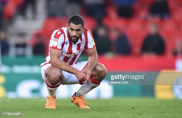Cameron Carter-Vickers of Stoke City looks dejected during the Sky Bet Championship match between Stoke City and Huddersfield Town at Bet365 Stadium...