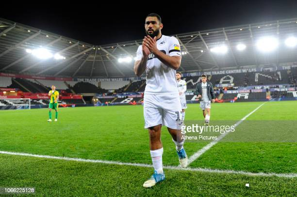 Cameron CarterVickers of Swansea City applauds the fans at the final whistle during the Sky Bet Championship match between Swansea City and West...