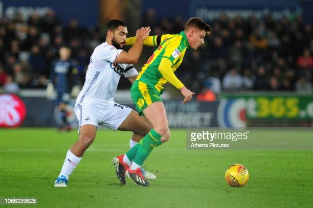 Cameron Carter-Vickers of Swansea City battles with Harvey Barnes of West Bromwich Albion during the Sky Bet Championship match between Swansea City...