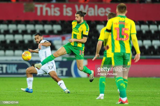 Cameron Carter-Vickers of Swansea City battles with Jay Rodriguez of West Bromwich Albion during the Sky Bet Championship match between Swansea City...