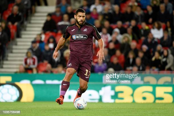 Cameron CarterVickers of Swansea City during the game between Stoke City and Swansea City at Bet365 Stadium on September 18 2018 in Stoke on Trent...