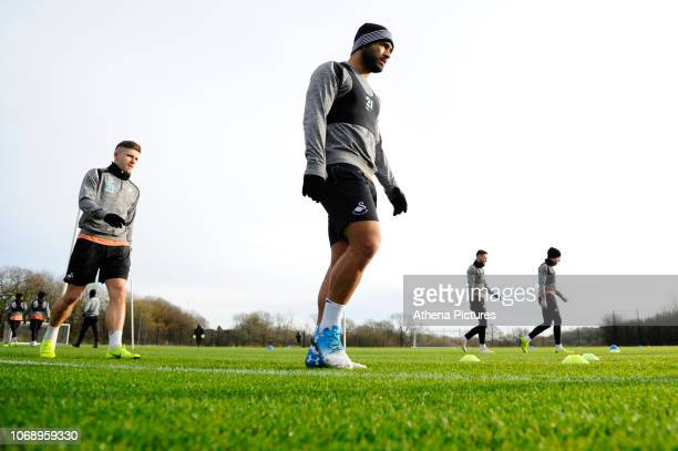 Cameron CarterVickers of Swansea City during the Swansea City Training at The Fairwood Training Ground on December 04 2018 in Swansea Wales