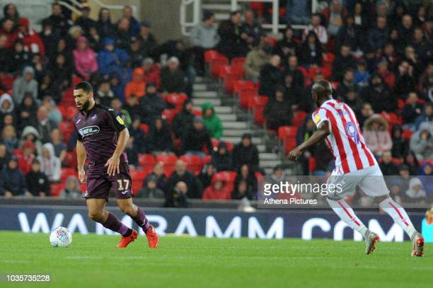 Cameron CarterVickers of Swansea City in action during the Sky Bet Championship match between Stoke City and Swansea City at the Bet 365 Stadium on...