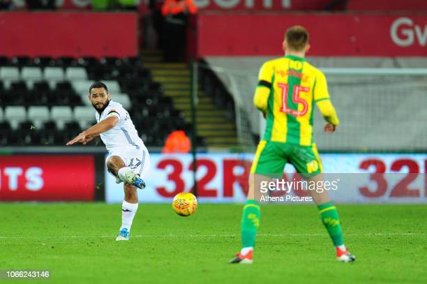 Cameron Carter-Vickers of Swansea City in action during the Sky Bet Championship match between Swansea City and West Bromwich Albion at the Liberty...