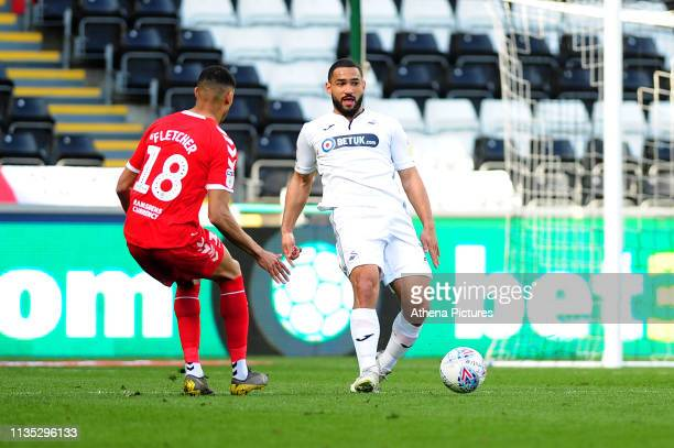 Cameron Carter-Vickers of Swansea City in action during the Sky Bet Championship match between Swansea City and Middlesbrough at the Liberty Stadium...