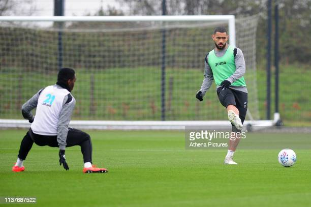 Cameron Carter-Vickers of Swansea City in action during the Swansea City Training at The Fairwood Training Ground on April 16, 2019 in Swansea, Wales.