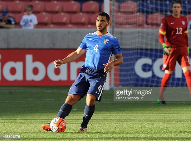 Cameron Carter-Vickers of the United States directs the ball during the third place CONCACAF Olympic Qualifying match against Canada at Rio Tinto...