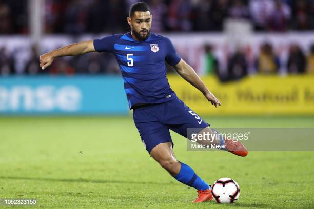 Cameron Carter-Vickers of the United States in action against the Peru at Rentschler Field on October 16, 2018 in East Hartford, Connecticut.