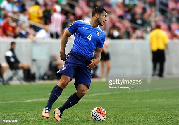 Cameron CarterVickers of the United States looks downfield during the third place CONCACAF Olympic Qualifying match against Canada at Rio Tinto...