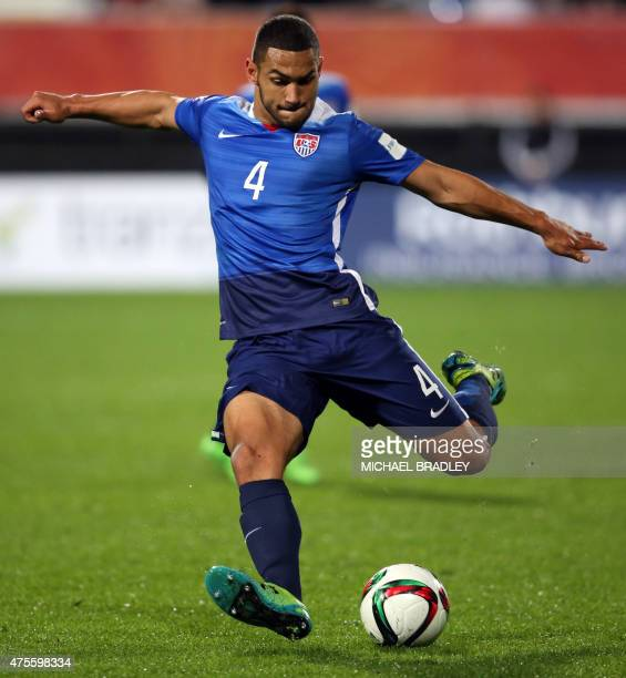 Cameron Carter-Vickers of the US takes a shot at goal during the FIFA Under-20 World Cup football match between New Zealand and the USA in Auckland...