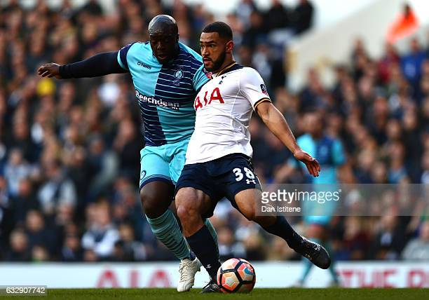 Cameron Carter-Vickers of Tottenham Hotspur and Adebayo Akinfenwa of Wycombe Wanderers compete for the ball during the Emirates FA Cup Fourth Round...