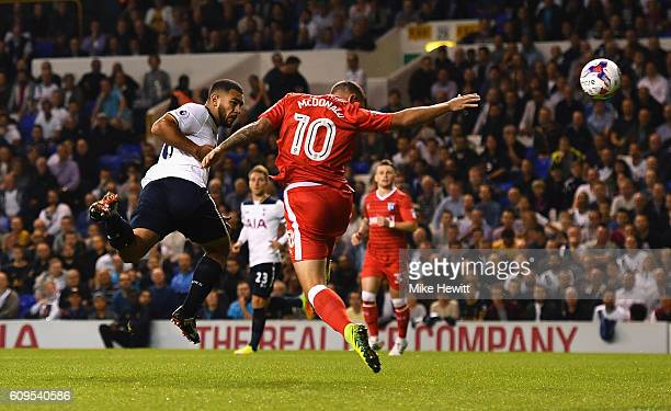 Cameron CarterVickers of Tottenham Hotspur heads wide during the EFL Cup Third Round match between Tottenham Hotspur and Gillingham at White Hart...