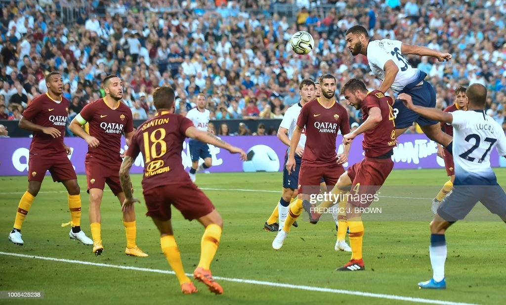 Cameron Carter-Vickers (R) of Tottenham Hotspur jumps for a header with Bryan Christante (down) of AS Roma off a corner kick during their International Champions Cup match in San Diego, California on July 25, 2018, where Tottenham defeated Roma 4-1.