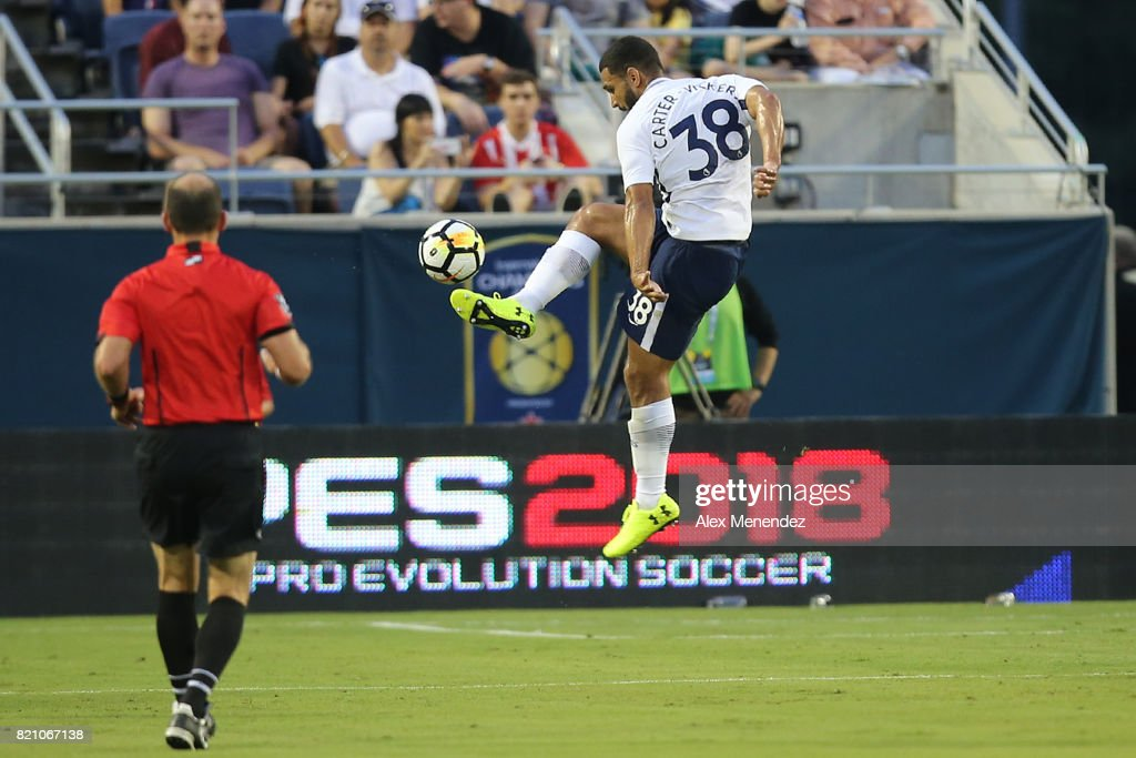 Cameron Carter-Vickers #38 of Tottenham Hotspur leaps for the ball during the International Champions Cup 2017 match between Paris Saint-Germain and Tottenham Hotspur at Camping World Stadium on July 22, 2017 in Orlando, Florida.