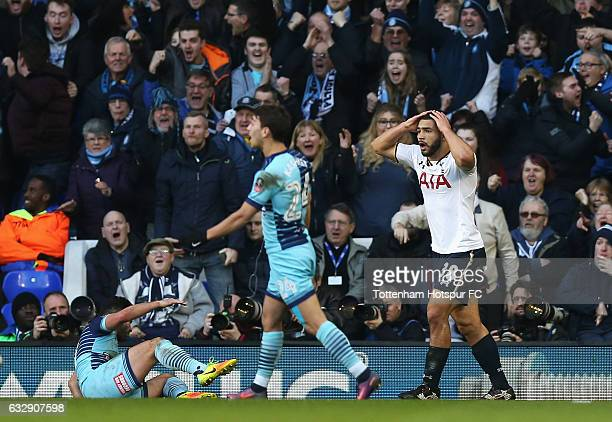 Cameron CarterVickers of Tottenham Hotspur reacts after giving away a penalty during the Emirates FA Cup Fourth Round match between Tottenham Hotspur...