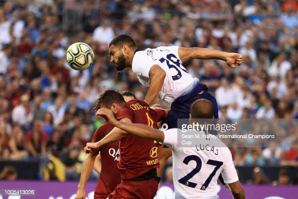 Cameron Carter-Vickers of Tottenham Hotspur scores over the A.S. Roma defense during an International Champions Cup match at SDCCU Stadium on July...