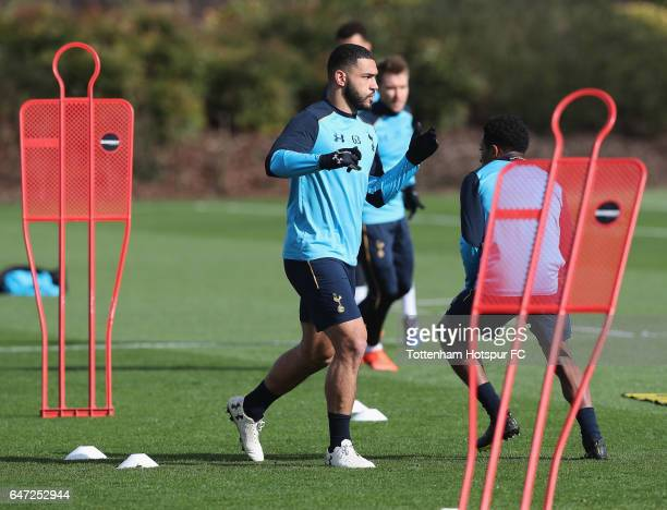 Cameron CarterVickers warming up during the Tottenham Hotspur Training Session at Tottenham Hotspur Training Centre on March 2 2017 in Enfield England