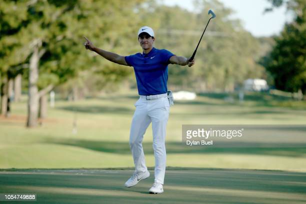 Cameron Champ celebrates after winning the Sanderson Farms Championship at The Country Club of Jackson on October 28 2018 in Jackson Mississippi