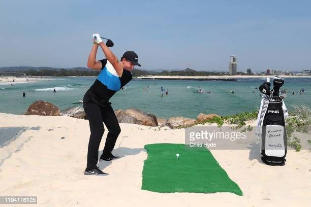 Cameron Champ during a media opportunity ahead of the 2019 PGA Championship at Currumbin Alley on December 16, 2019 in Gold Coast, Australia.