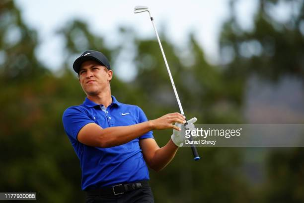 Cameron Champ hits at the second tee during the final round of the Safeway Open at the Silverado Resort on September 29 2019 in Napa California