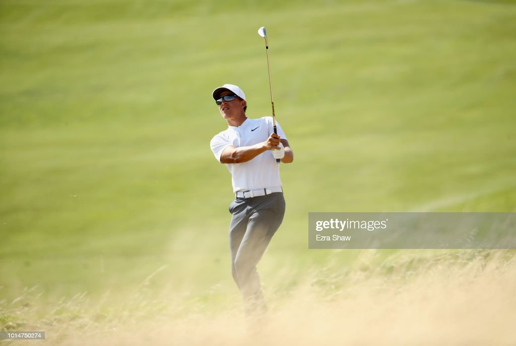 Cameron Champ hits his second shot on the seventh hole during Round Two of the Ellie Mae Classic at TBC Stonebrae on August 10, 2018 in Hayward, California.