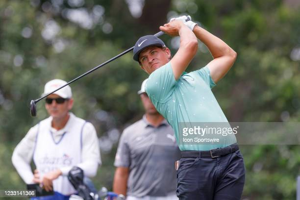 Cameron Champ hits his tee show on during the first round of the Charles Schwab Challenge on May 27, 2021 at Colonial Country Club in Fort Worth, TX