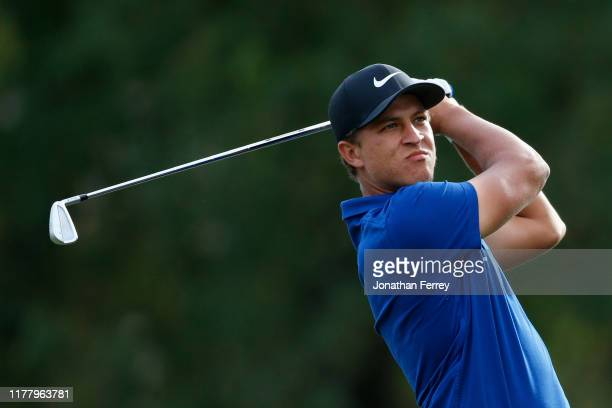 Cameron Champ hits on the 17th hole during the final round of the Safeway Open at the Silverado Resort on September 29, 2019 in Napa, California.